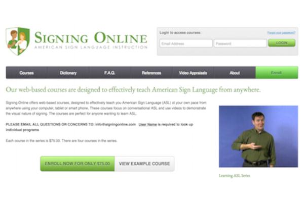 screenshot of signing online website