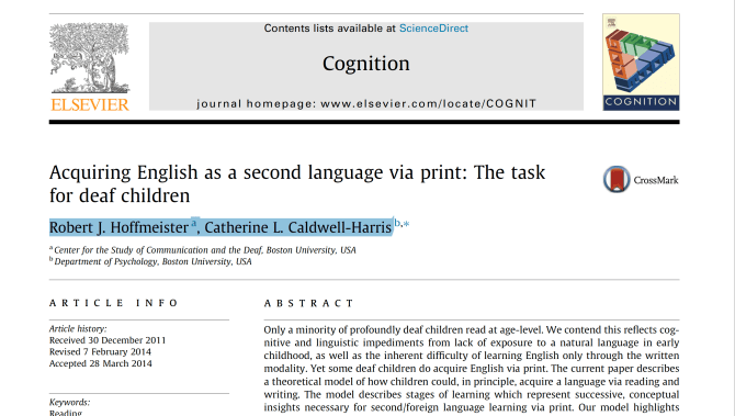 A screenshot of an academic journal entitled Acquiring English as a second language via print: The task for deaf children