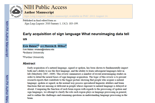 a screenshot of an academic journal article entitled Early acquisition of sign language What neuroimaging data tell us