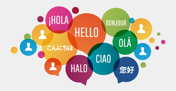 colourful bubbles with different languages