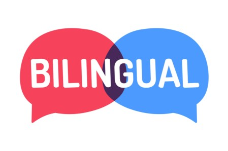 "Red and blue interconnected speech bubbles that say ""Bilingual"""