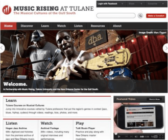 The Music Rising at Tulane platform went live at 1:00 PM on April 23rd, 2014.