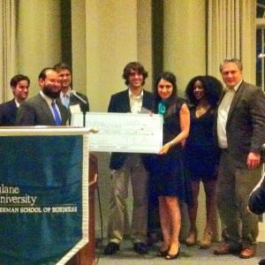 Members from Tulane Entrepreneurs Association presenting the $25,000 check to Tympanogen. Photo by @neworleansbio.