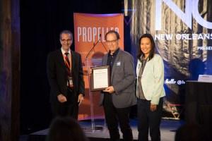 Grasshopper Mendoza and Steve Picou receive Water Champion Award in 2015.