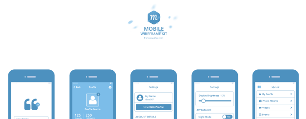 Mobile Wireframe Kit PSD – Freebie