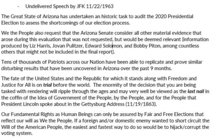Letter From 'The American People' To 'The Arizona Senate'