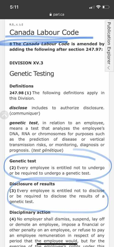 Genetic Non-Discrimination Act of Canada