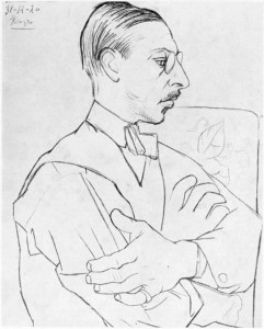 Stravinsky as drawn by Picasso in Paris on 31 December 1920