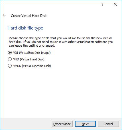 Virtual Box Hard Drive Type VDI