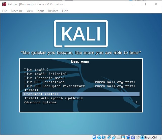 Kali OS Install Screen 1
