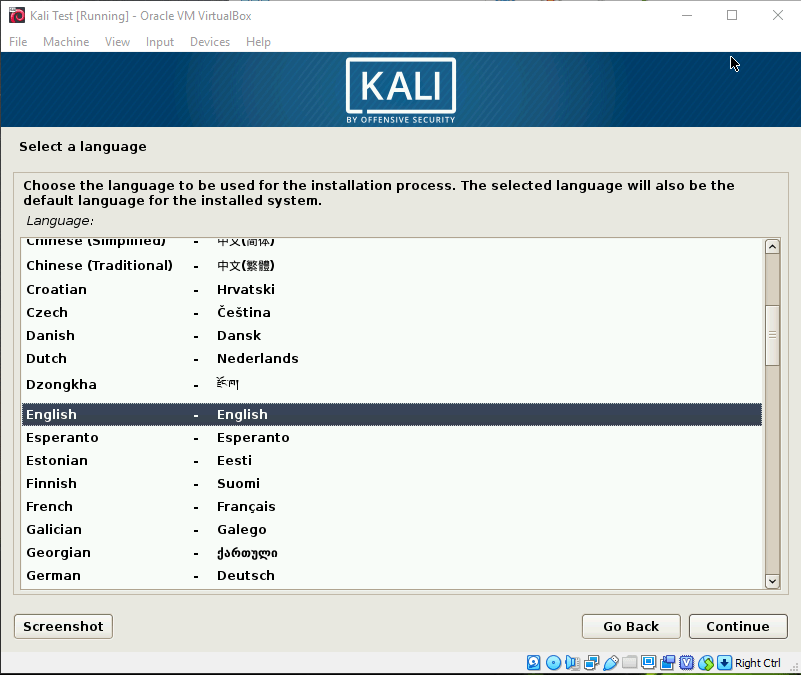 Kali OS Screen Language Selection