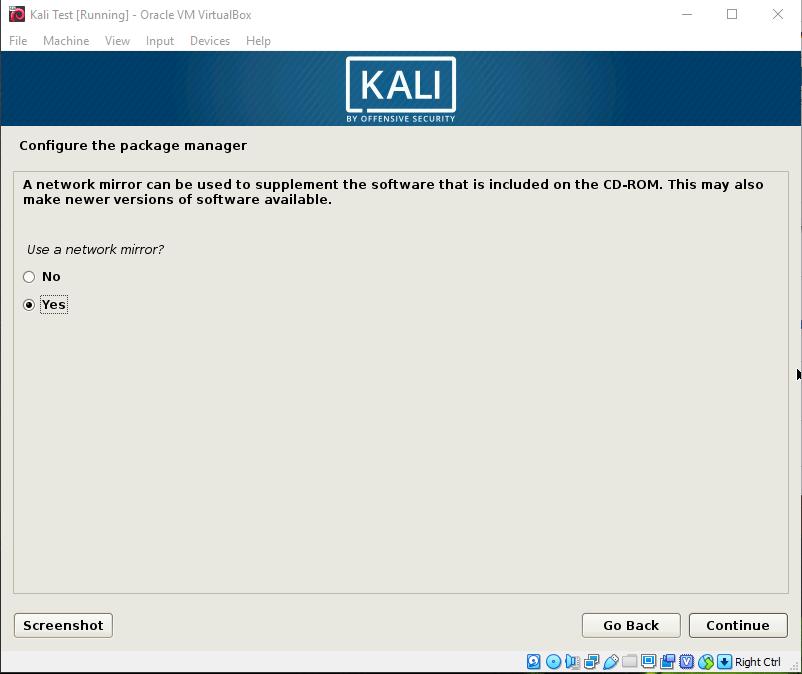 Kali Install Netwrok Mirror