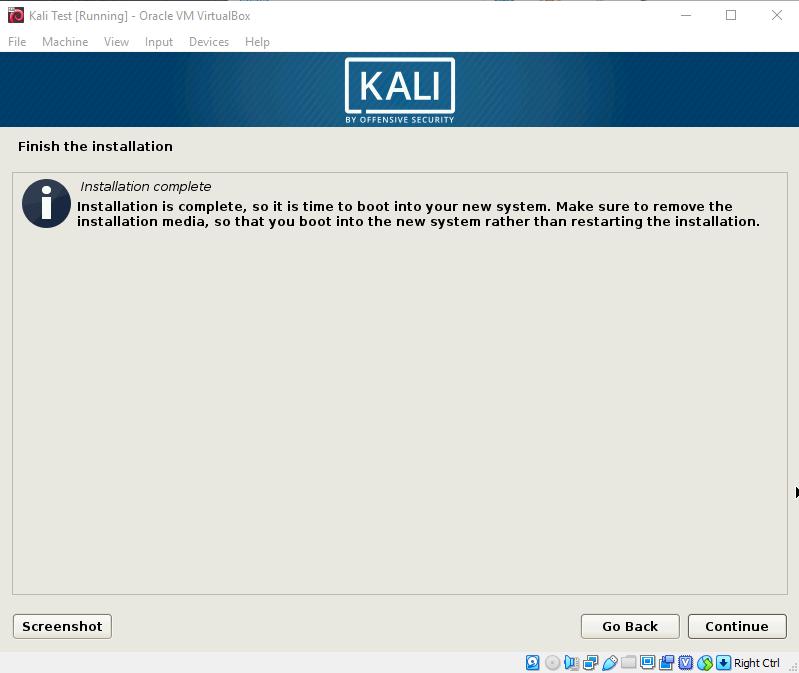 Kali Install Finished