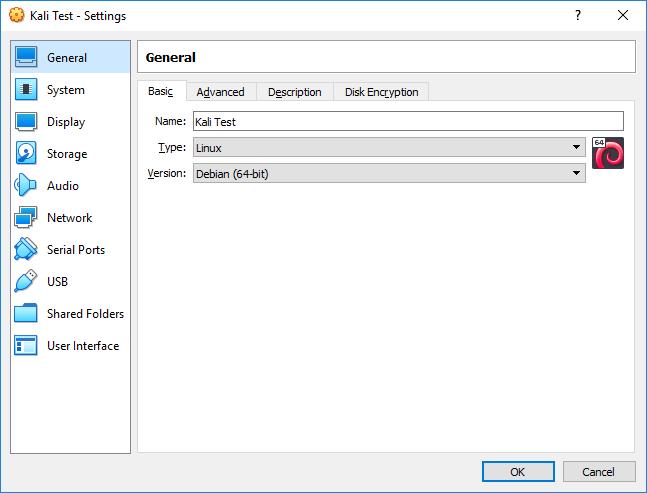 Virtual Box Settings