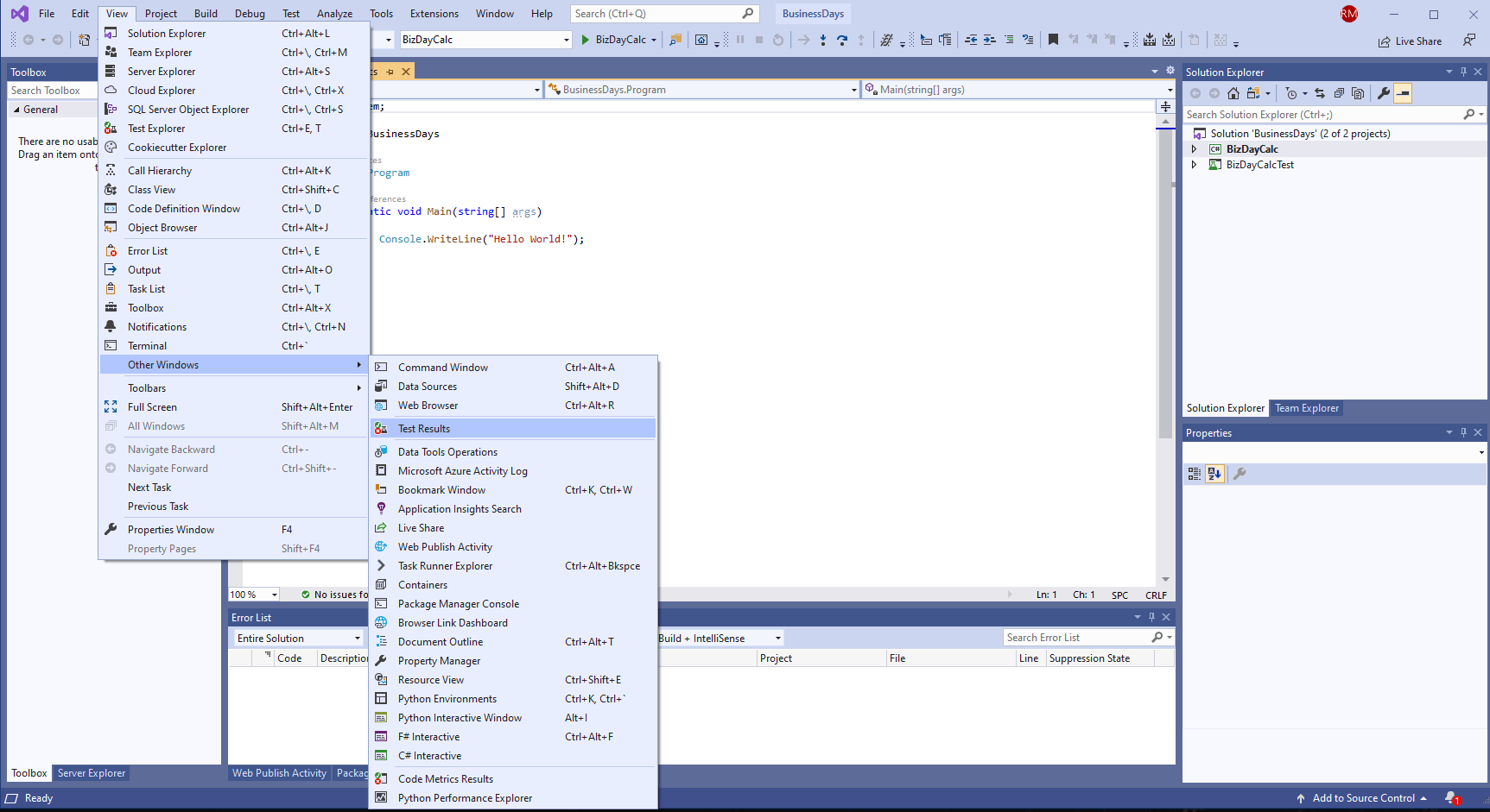 Test Results become available so now you can use NUnit in Visual Studio.