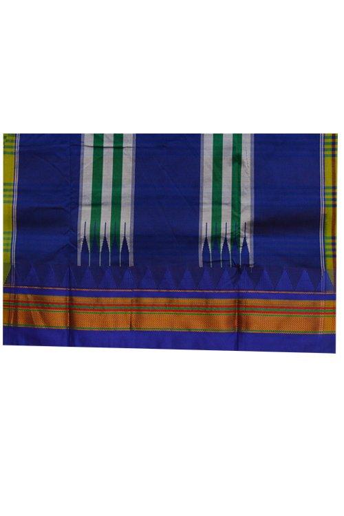 Ilkal Silk by Cotton Big Checks Temple border Saree