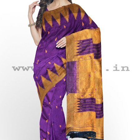PRE-ORDER: ILKAL HANDLOOM LUXURY DADI TIRKI TEMPLE BORDER BUTTA SILK SAREE