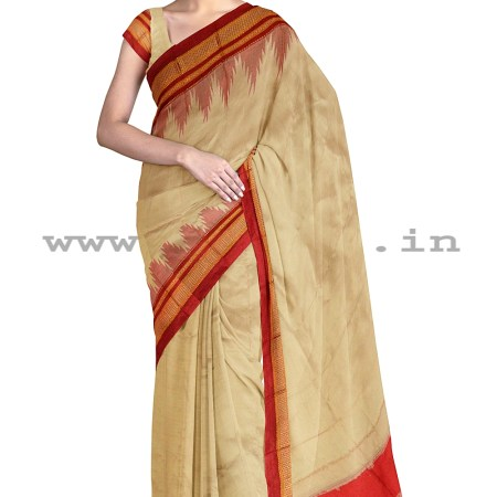 PRE-ORDER: ILKAL HANDLOOM LUXURY DADI TIRKI TEMPLE BORDER SILK SAREE