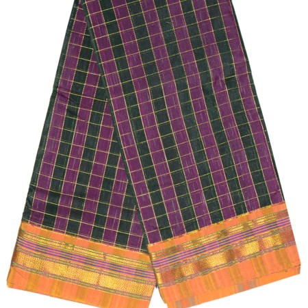 Ilkal Silk by Cotton Big Checks Patti Pallu Sarees
