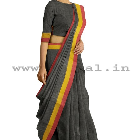 RAMDURGA HANDLOOM COTTON BY COTTON PLAIN SAREES