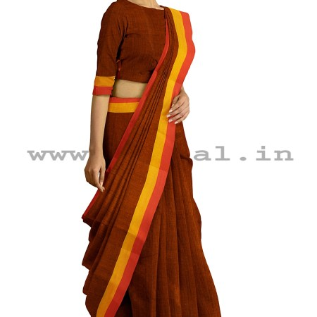RAMDRAMDURGA HANDLOOM COTTON BY COTTON PLAIN SAREESURGA HANDLOOM COTTON BY COTTON SMALL CHECKS SAREES