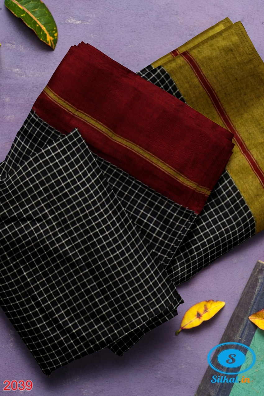 RAMDURGA PATTEDA ANCHU HANDLOOM COTTON PLAIN SAREES