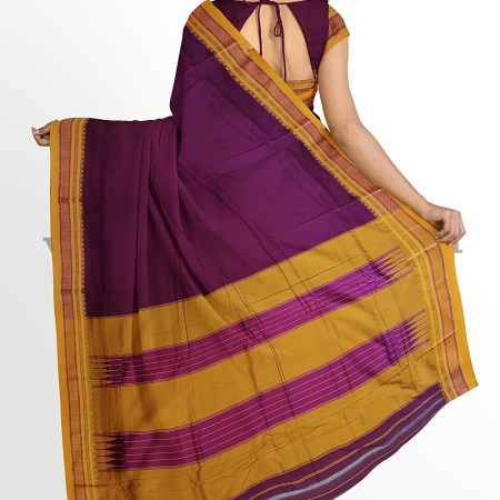 ILKAL MASRISE COTTON PLAIN SAREE WITH CHIKKI PARAS BORDER