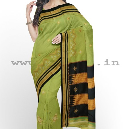 ILKAL SILK BY COTTON TWO TONE KASUTI WORK SAREE