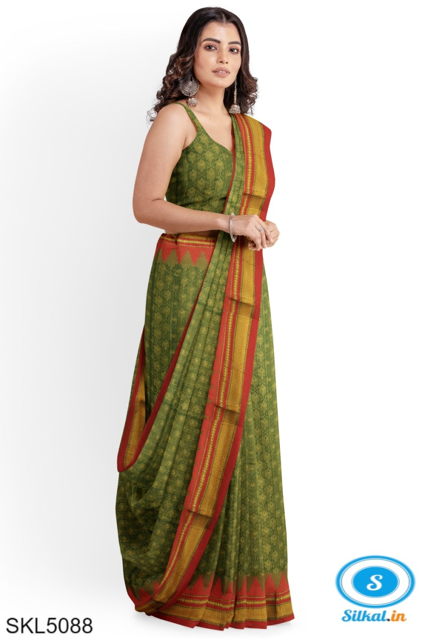 ILKAL EMBOZ SAREE WITH TEMPLE BORDER