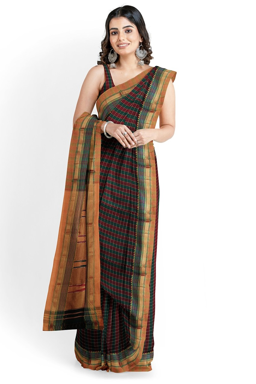 ILKAL COTTON SMALL CHECKS SAREE WITH THODA PARAS BORDER