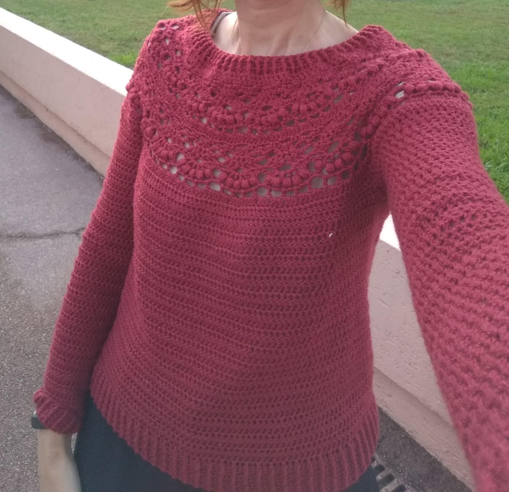 c76b7cdc6 Berry crochet sweater - top down round yoke - Silk   Wool