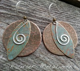 Earrings-hammered-copper-rustic-patinas-sterling-silver-spirals