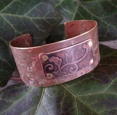 etched-brass-copper-cuff-rustic-painted-patina