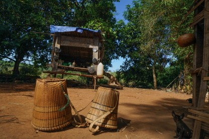 The way the baskets are woven shows which tribe people are from