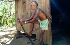 a hunter preparing his bow