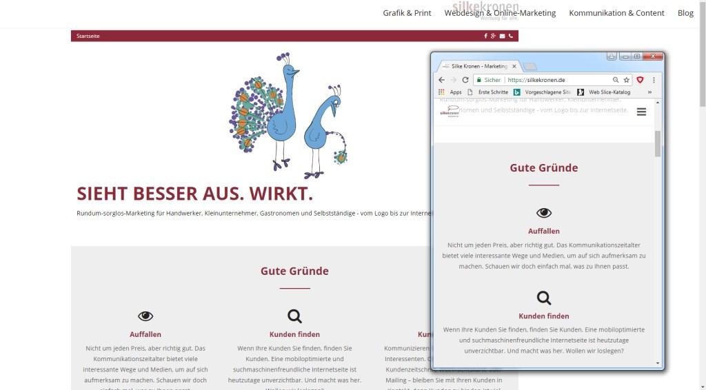 responsive Webdesign der Internetseite silkekronen.de