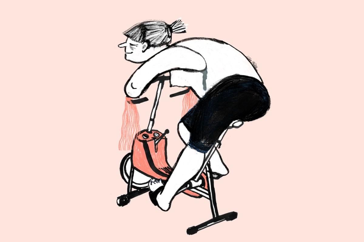 """Corona Tagebuch, Comic über homeoffice, die Illustration zeit eine Frau die auf ihrem Hometrainer/ergometer zur """"Arbeit Fährt"""""""