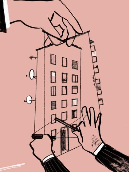 Eine Hand hält Marionettenfäden, die Konturen von Häusern bilden. an den Fäden hängen 2 weitere Hände, die ebenfalls mit den Häusern verbunden sind. Illustration: Silke Müller | Boulevardzeitung Augustin
