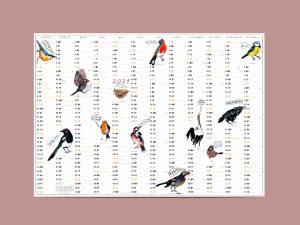 Kalender für 2021 mit Vögeln, illustriert von Silke Müller