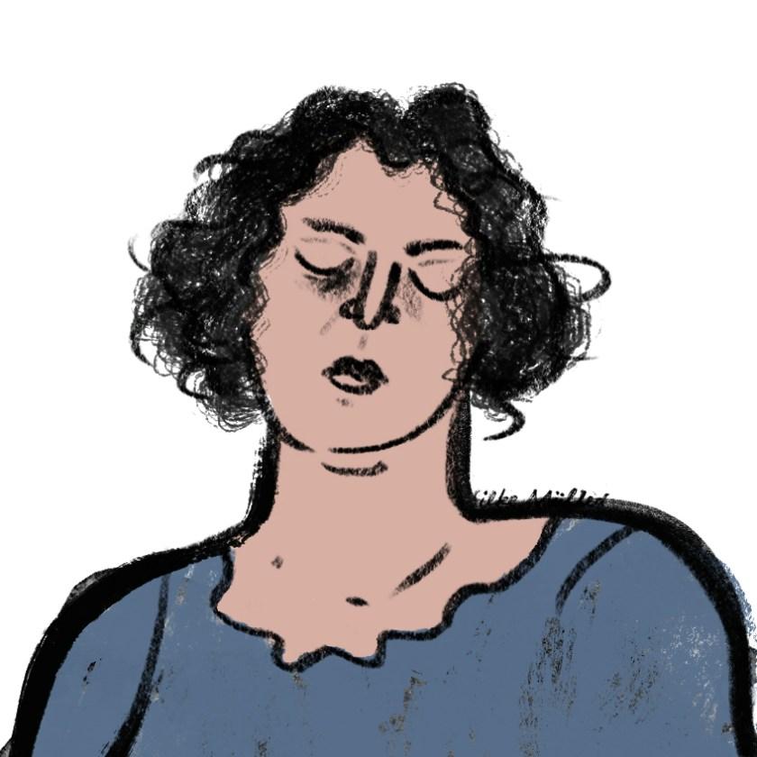 Justitia mit geschlossenen Augen. Illustration Silke Müller
