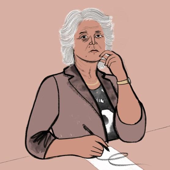 Heide Schmidt | Große Töchter Podcast von Beatrice Frasl | Portraitillustration von Silke Müller