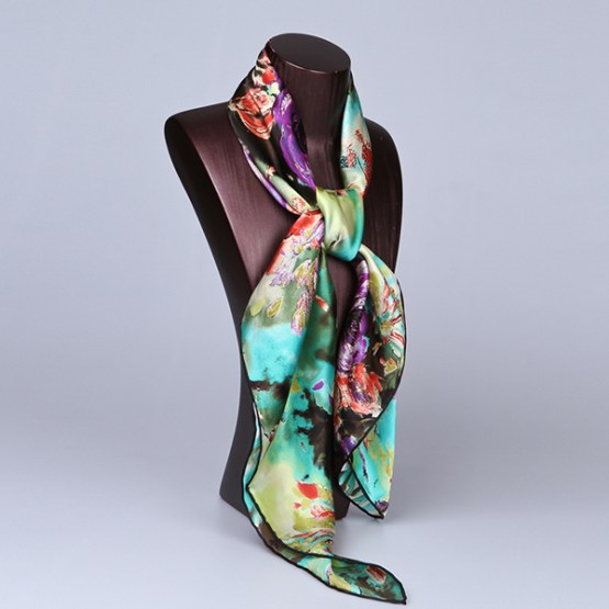 90cm Silk Scarf-Square Silk Scarf-Wholesale Scarfs-HA613B