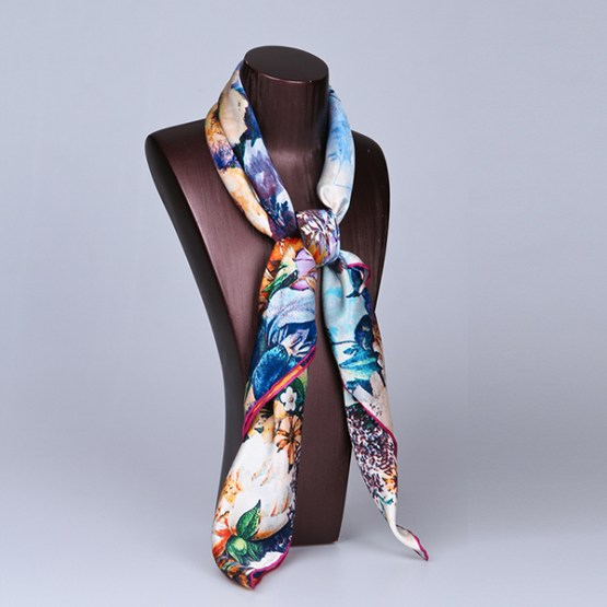 90cm Silk Scarf-Square Silk Scarf-Wholesale Scarfs-HA615C