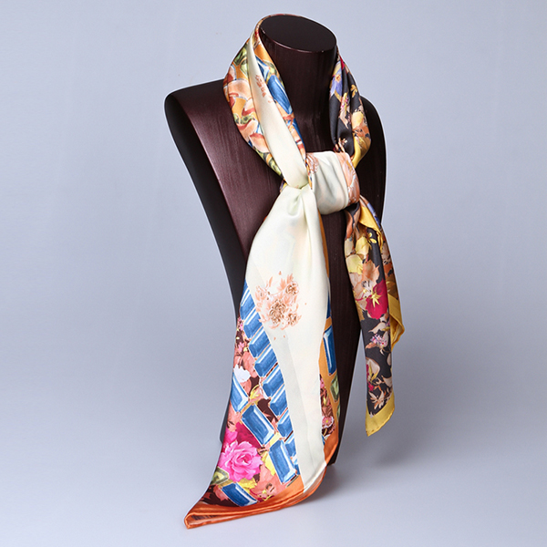 90cm Silk Scarf-Square Silk Scarf-Wholesale Scarfs-HA650C
