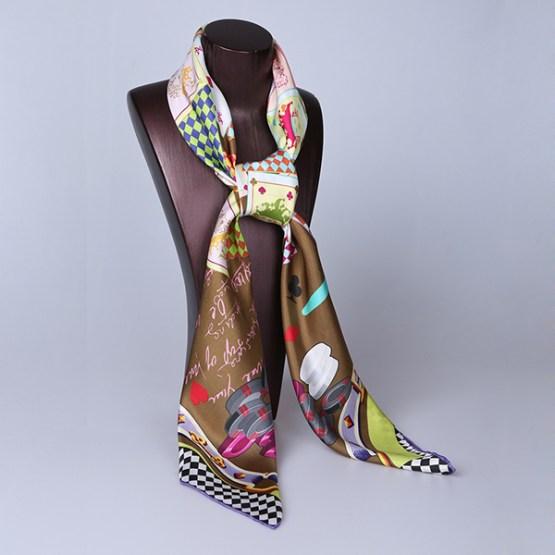 90cm Silk Scarf-Square Silk Scarf-Wholesale Scarfs-HA7014