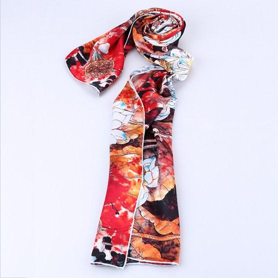 Long Silk Scarf-Digital Silk Scarf-Silk Scarf China-ALL015A