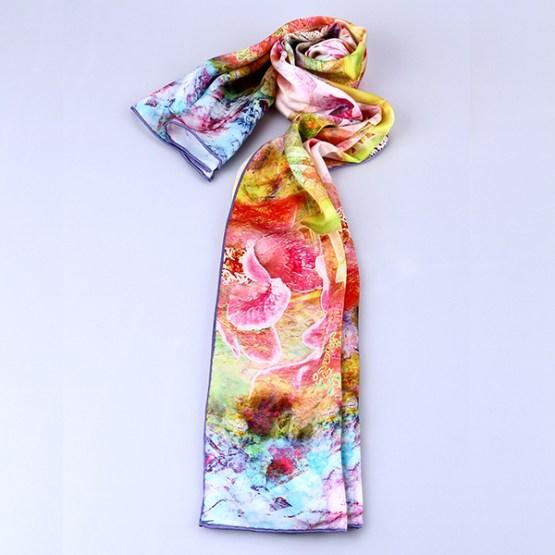 Long Silk Scarf-Digital Silk Scarf-Silk Scarf China-ALL025A