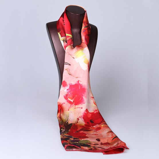 Long Silk Scarf-Digital Silk Scarf-Silk Scarf China-ALL033
