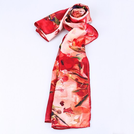 Long Silk Scarf-Digital Silk Scarf-Silk Scarf China-ALL033A