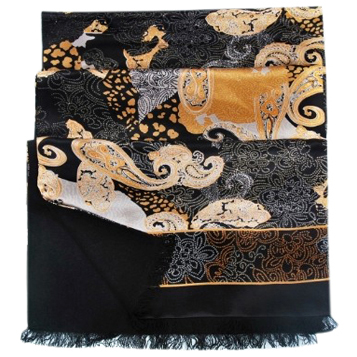 Mens Silk Scarf-Double Layers-Thick MSDT012D